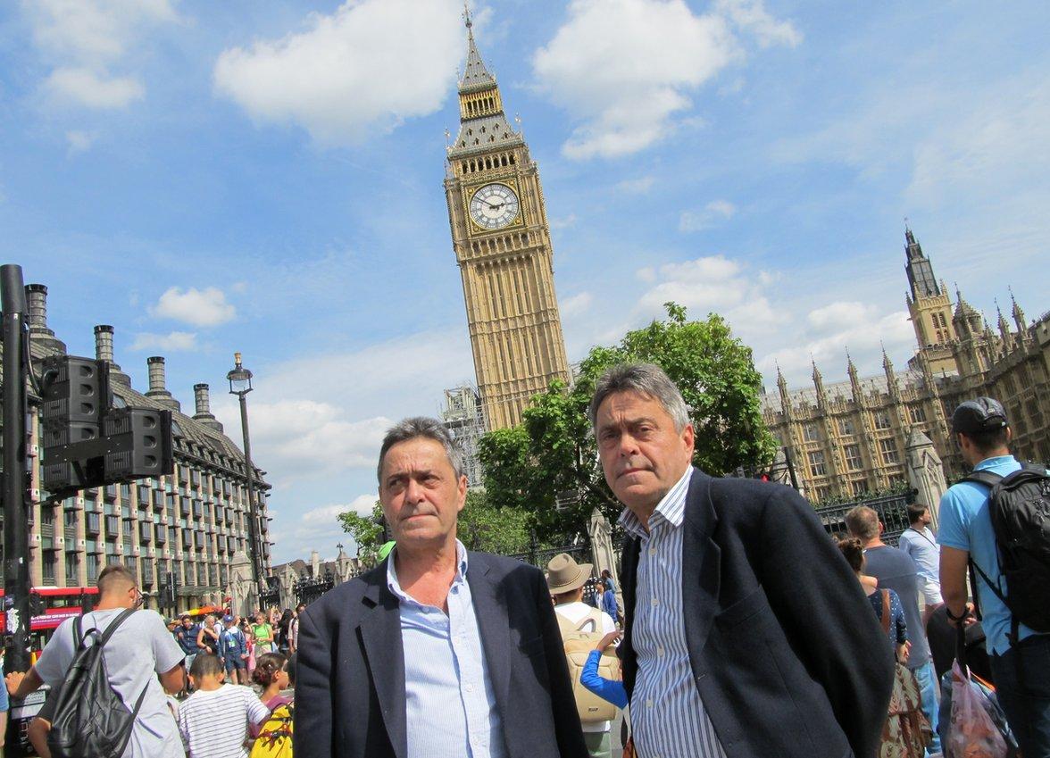 Nick and Chris Ferrey in front of Big Ben