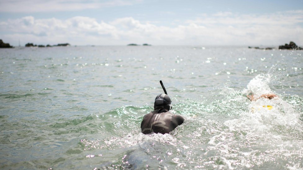 Ben Lecomte begins his swim in Choshi, Chiba prefecture, Japan, 5 June