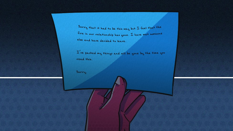 Illustration of a break-up note from a husband to his wife