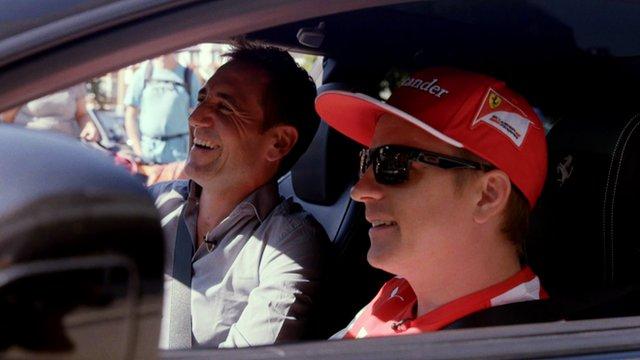 BBC Sport's Tom Clarkson shares a laugh with Kimi Raikkonen