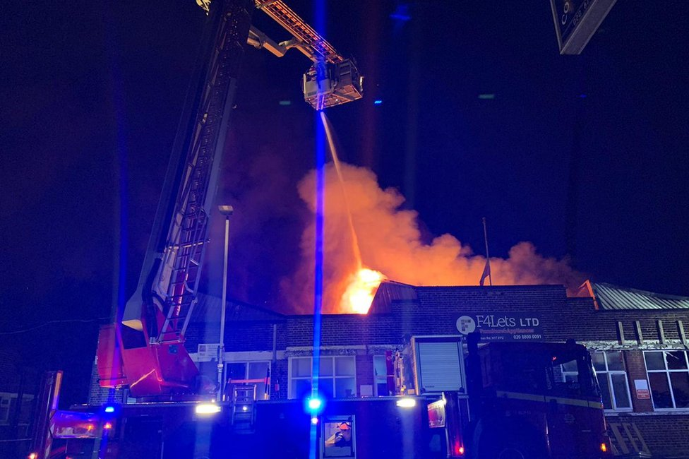 The fire at a warehouse in Tottenham