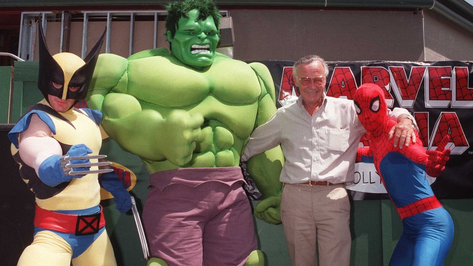 Stan Lee with Wolverine, Hulk and Spider-Man