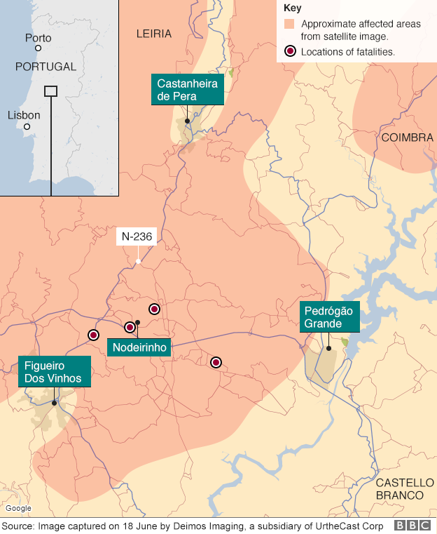 Map of forest fires in Portugal
