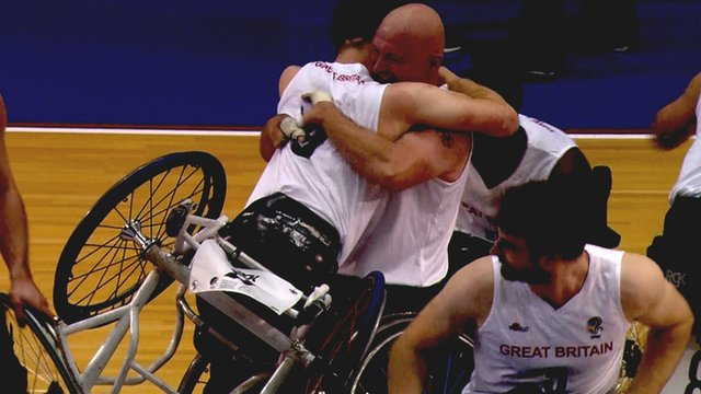 Great Britain's men's wheelchair basketball team celebrate winning European Championship gold