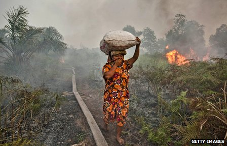 Woman walks past a forest fire in Riau Province, on the Indonesia island of Sumatra, in 2013