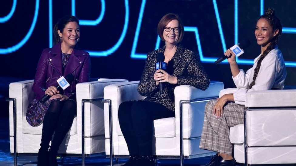 Sophie Grégoire-Trudeau,con la exprimera ministra de Australia Julia Gillard y la cantante Leona Lewis
