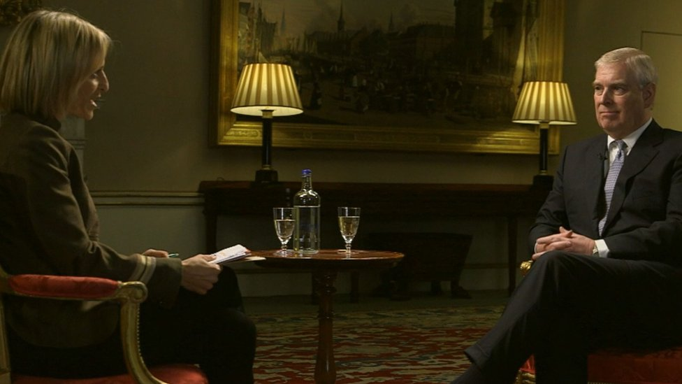 Emily Maitis and Prince Andrew sitting in Buckingham Palace