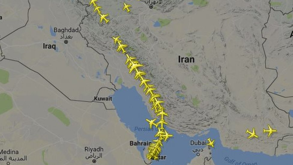 Map showing route of Qatar Airways flights on Tuesday, 6 June