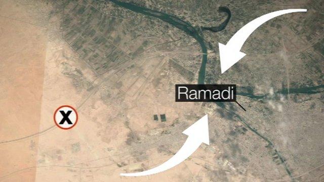 Map showing Ramadi