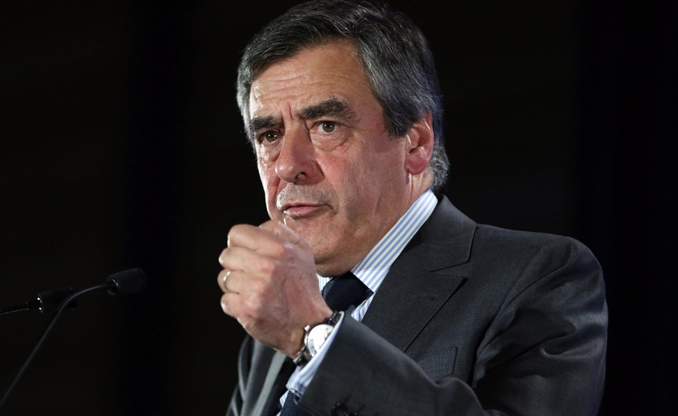 Francois Fillon gives a speech in Nantes on 27 March