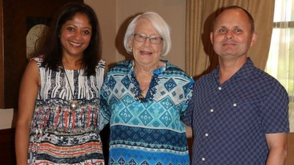 Andrew (right) with his wife, Anu, (left) and mother, Helen, (centre)
