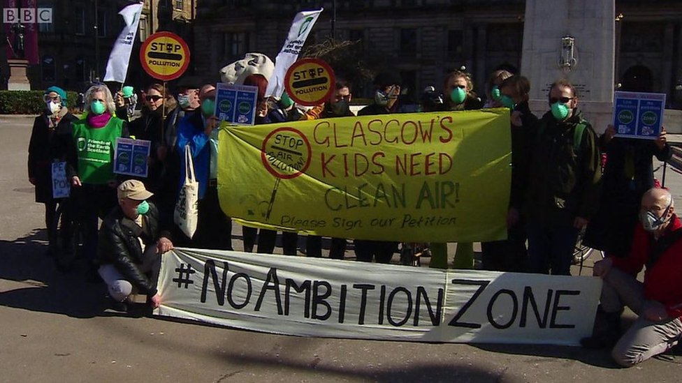 Pollution protest in Glasgow