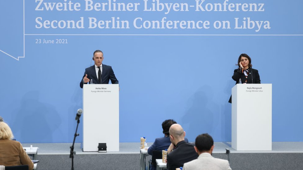 وزير الخارجية الألماني ونظيرته الليبية في مؤتمر برلين 2