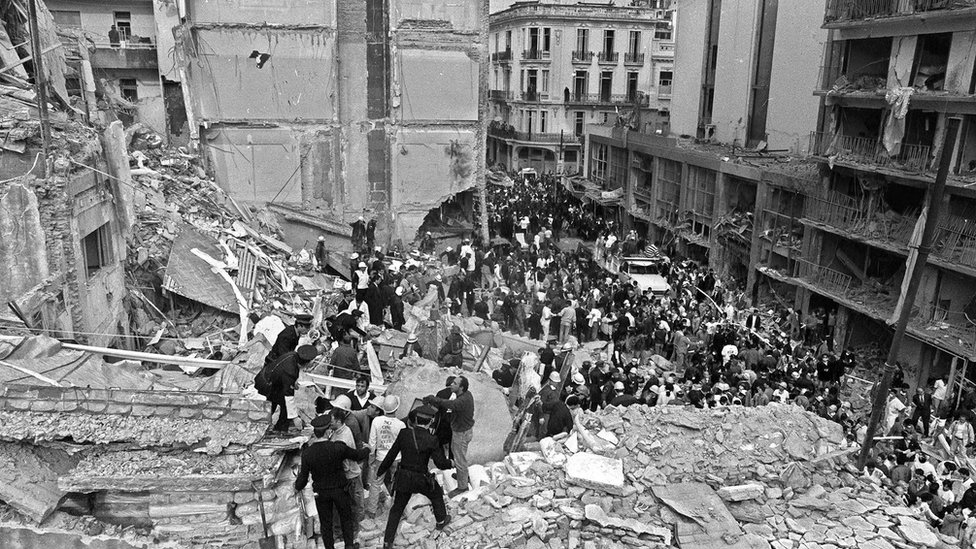 Aftermath of Argentine Israelite Mutual Association (AMIA) in Buenos Aires (18 July 1994)