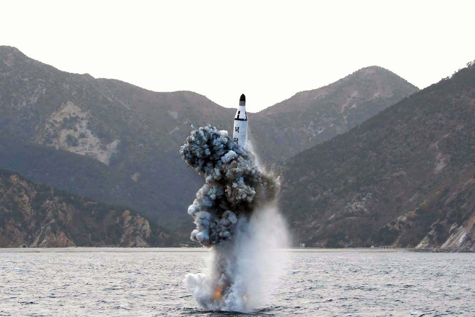 This picture released from North Korea's official Korean Central News Agency (KCNA) on April 24, 2016 shows the underwater test-fire of a strategic submarine ballistic missile at an undisclosed location in North Korea on 23 April 2016