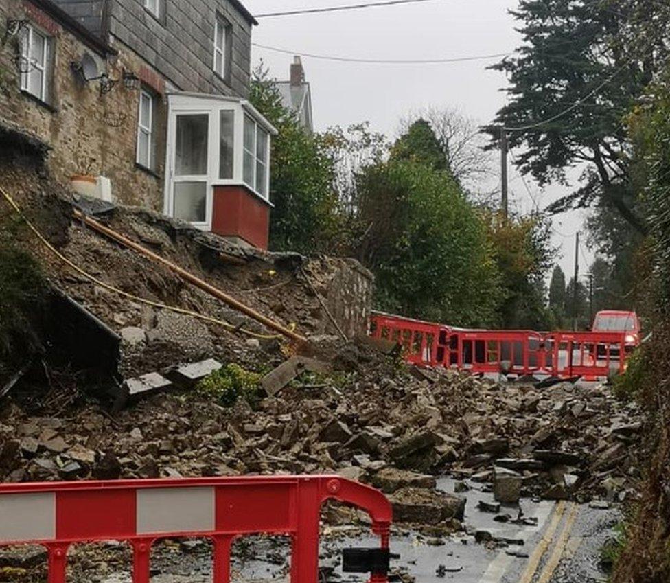 Landslide on Castle Road, Bodmin, Cornwall
