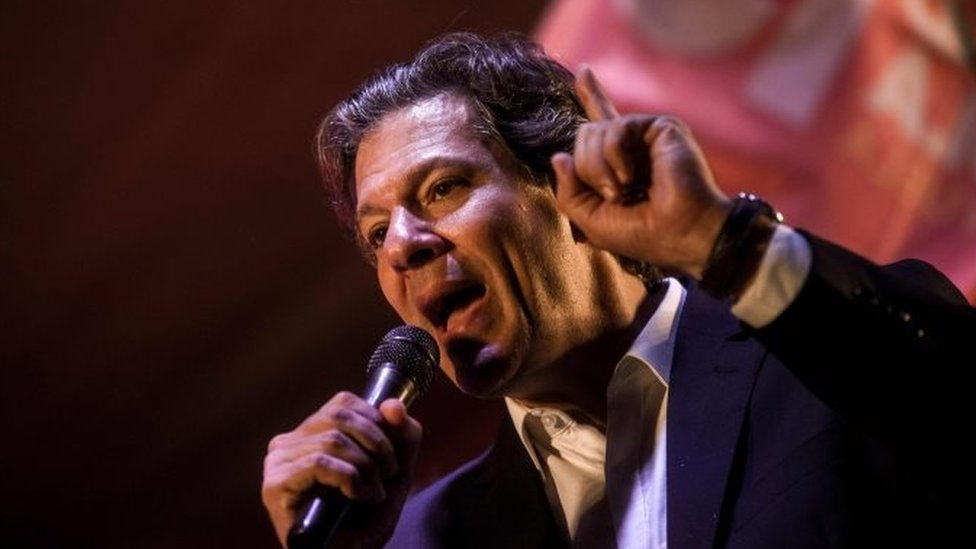 Workers' Party presidential candidate Fernando Haddad attends a rally at Cinelandia Square in Rio de Janeiro