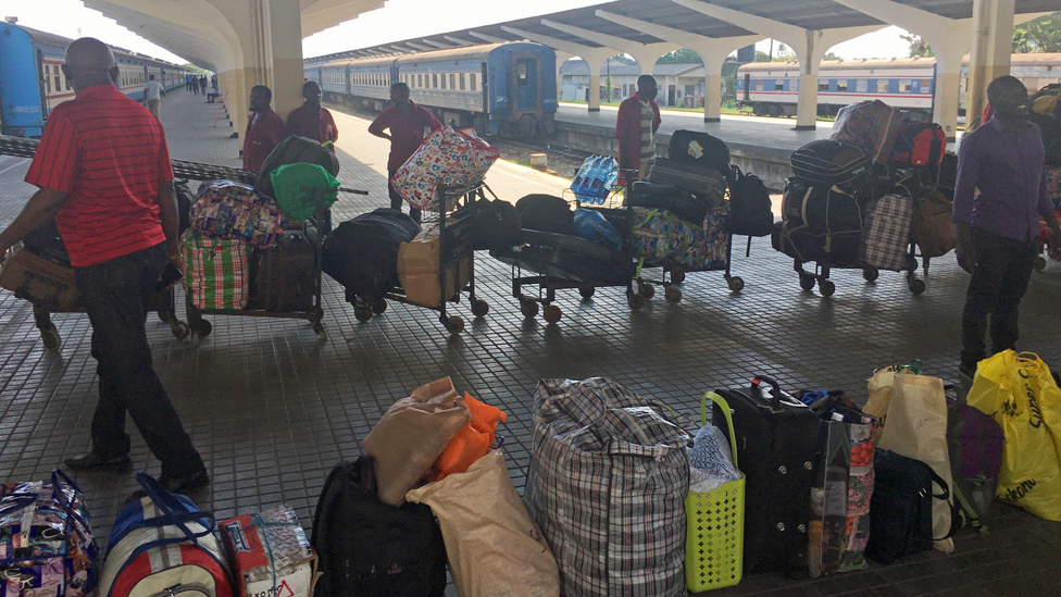 Luggage to be loaded on to the Tazara train at Dar es Salaam, Tanzania
