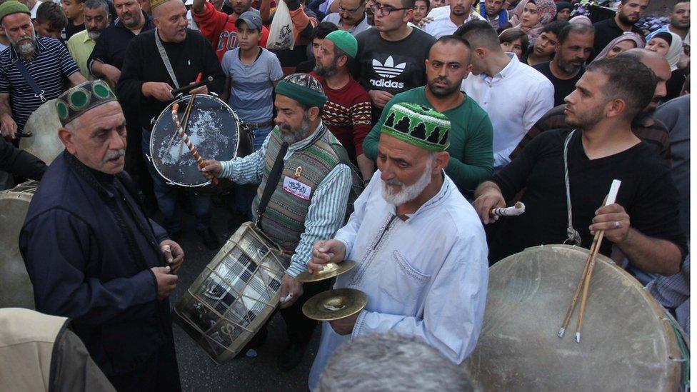 من احتفالات المولد النبوي في نابلس بالضفة الغربية في فلسطين