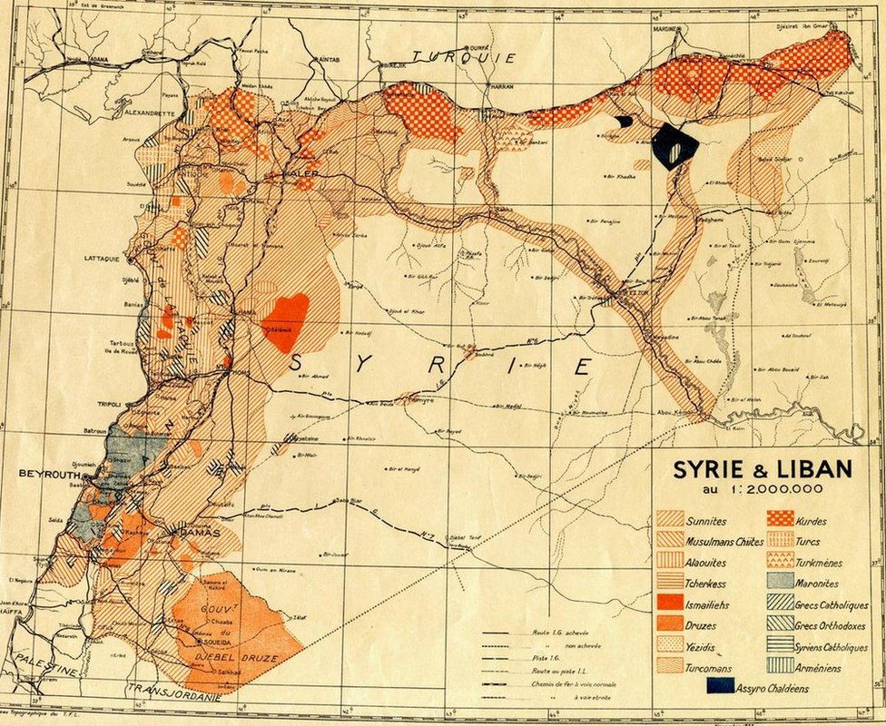 1935 French Mandate map of Syria and Lebanon