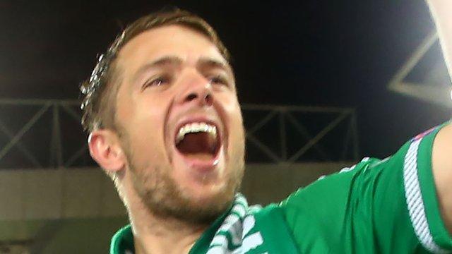 Jamie Ward celebrates qualification for the 2016 European Championship finals