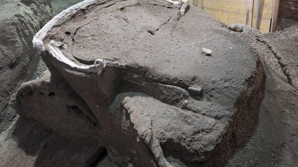 Silueta del carruaje bajo los restos de la erupción.