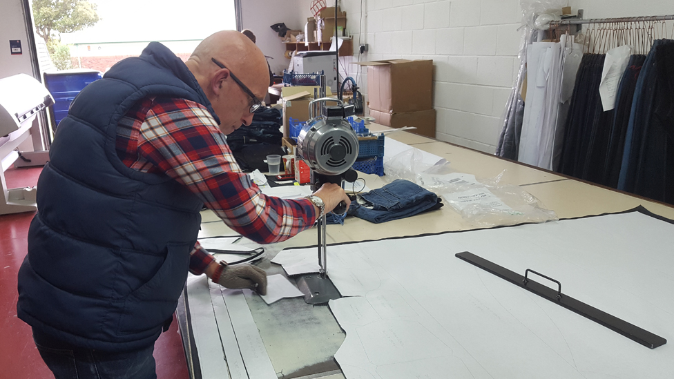 Hiut jeans being cut