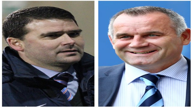 Linfield manager David Healy and Ballymena United manager Glenn Ferguson