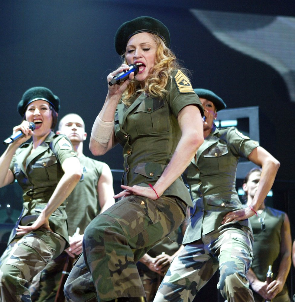 Madonna performs onstage during her 'Re-Invention' World Tour 2004 in California
