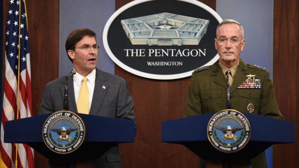 US Secretary of Defence Mark Esper (L) and Chairman of Joint Chiefs of Staff General Joseph Dunford at a press conference in August 2019