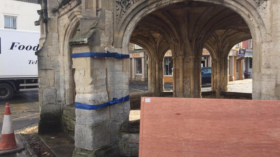 Malmesbury Market Cross damaged by recycling lorry