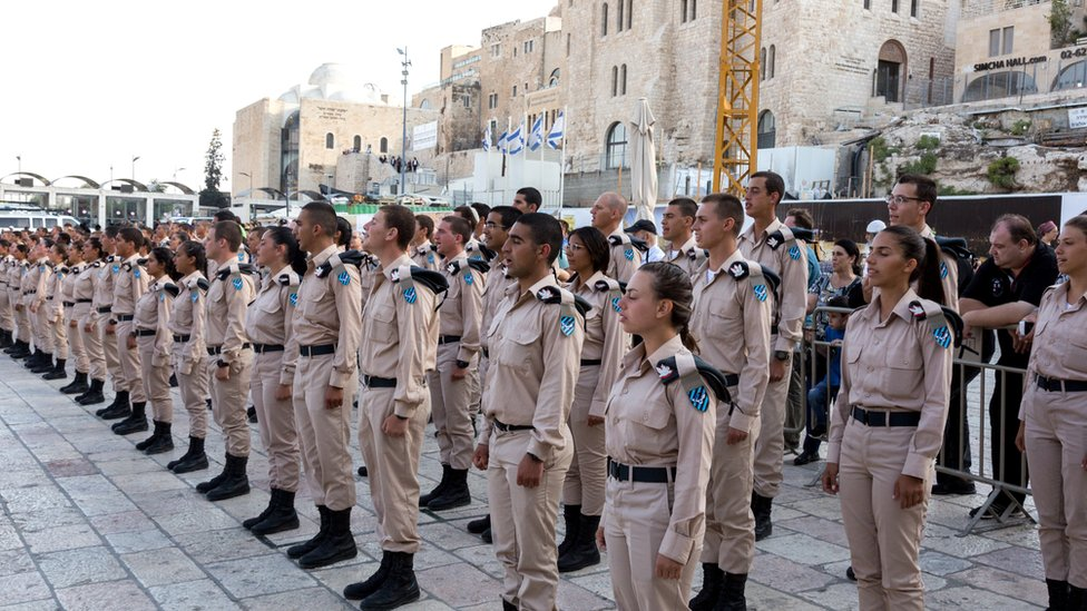 Israeli cadets at a swearing-in ceremony in Jerusalem.