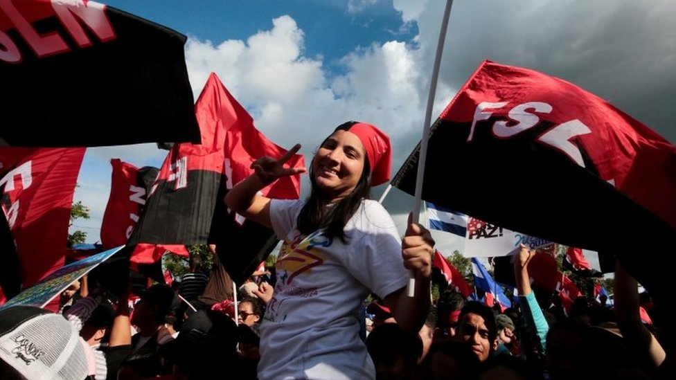A supporter of Nicaraguan President Daniel Ortega takes part in an pro-government event