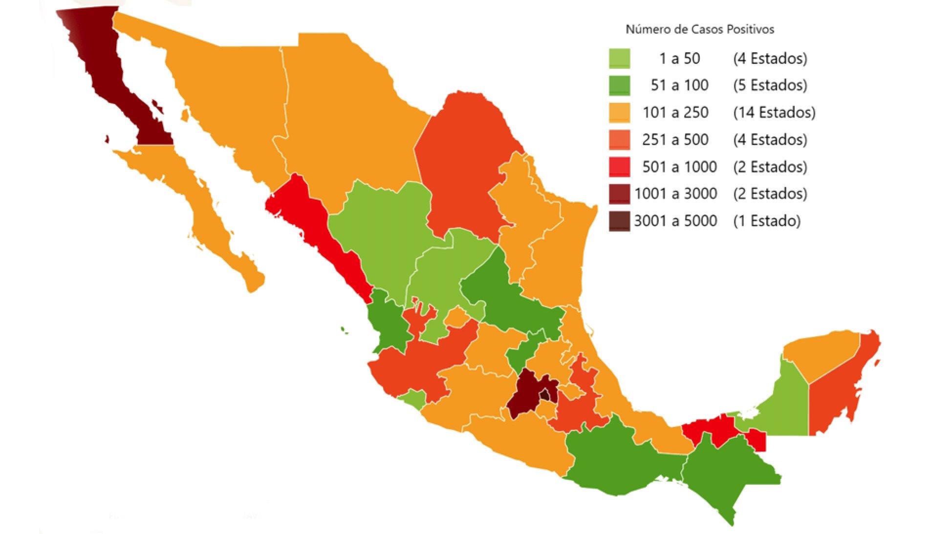 Mapa por estados de MX