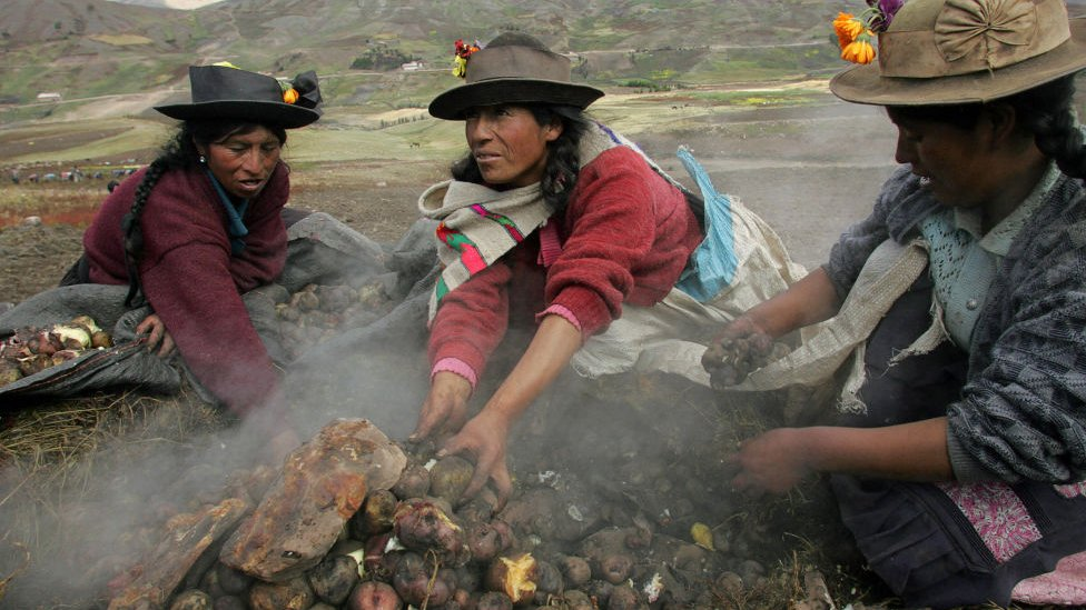 Peruvian women from the San Jose de Aymara community prepare a Pachamanca (typical meal made of potatoes cooked under pre-heated stones)