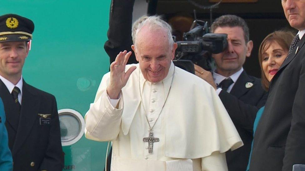 POPE WAVES GOODBYE