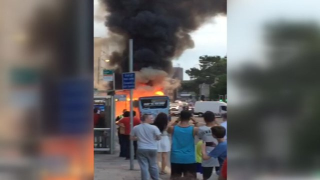 Bus fire in Cardiff