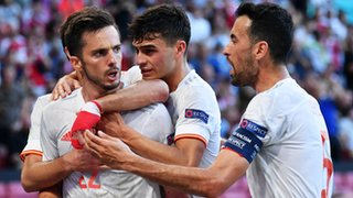 Spain celebrate Sarabia's goal