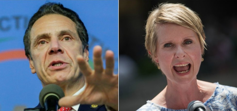 A composite picture of New York Governor Andrew Cuomo and his rival Cynthia Nixon