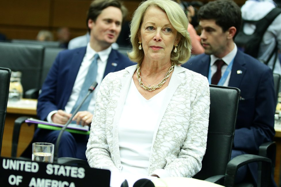 US ambassador Jackie Wolcott at a meeting of the International Atomic Energy Agency in Vienna (10 July 2019)