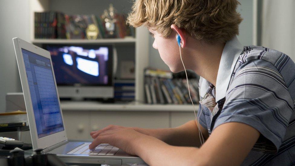 Teenage boy using a computer