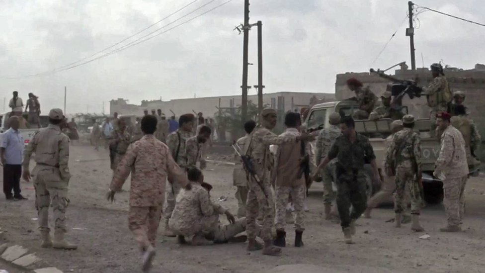 Screengrab taken from video showing Yemeni soldiers after a drone exploded above al-Anad military base in Lahj, Yemen (10 January 2019)