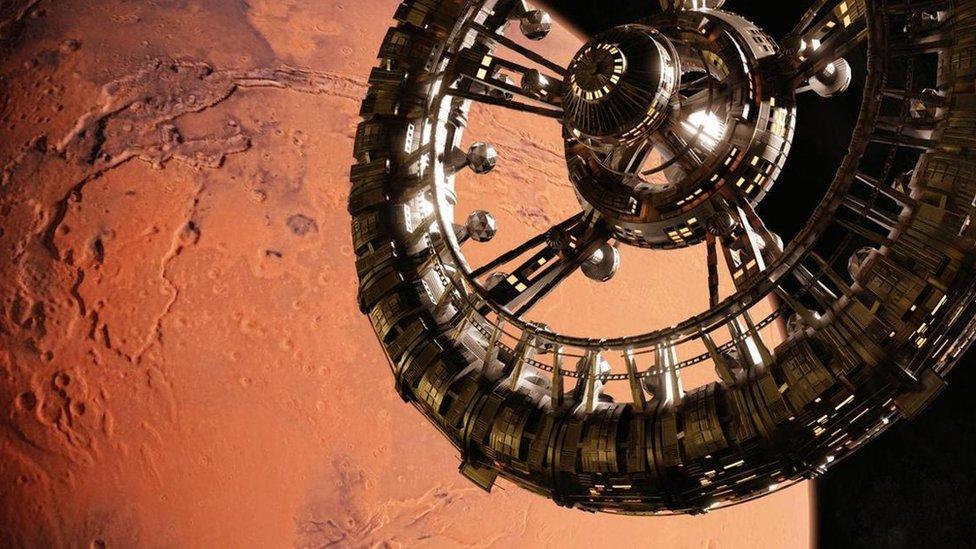 Estación espacial cerca de Marte