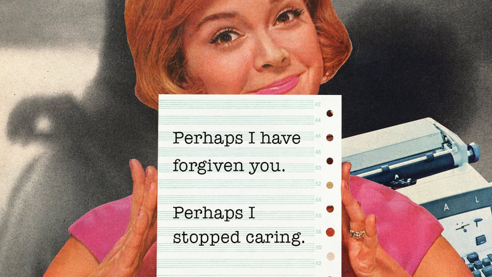 woman holding a piece of paper with the words 'Perhaps I have forgiven you, perhaps I stopped caring'