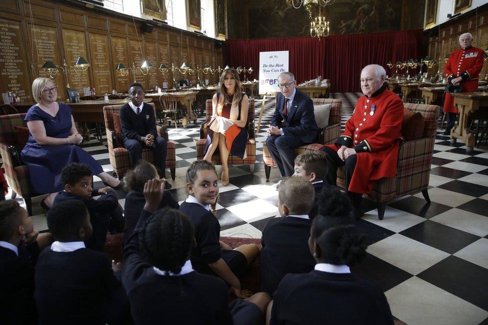 First Lady Melania Trump and Philip May, Theresa May's husband, visit the Royal Hospital in Chelsea, London