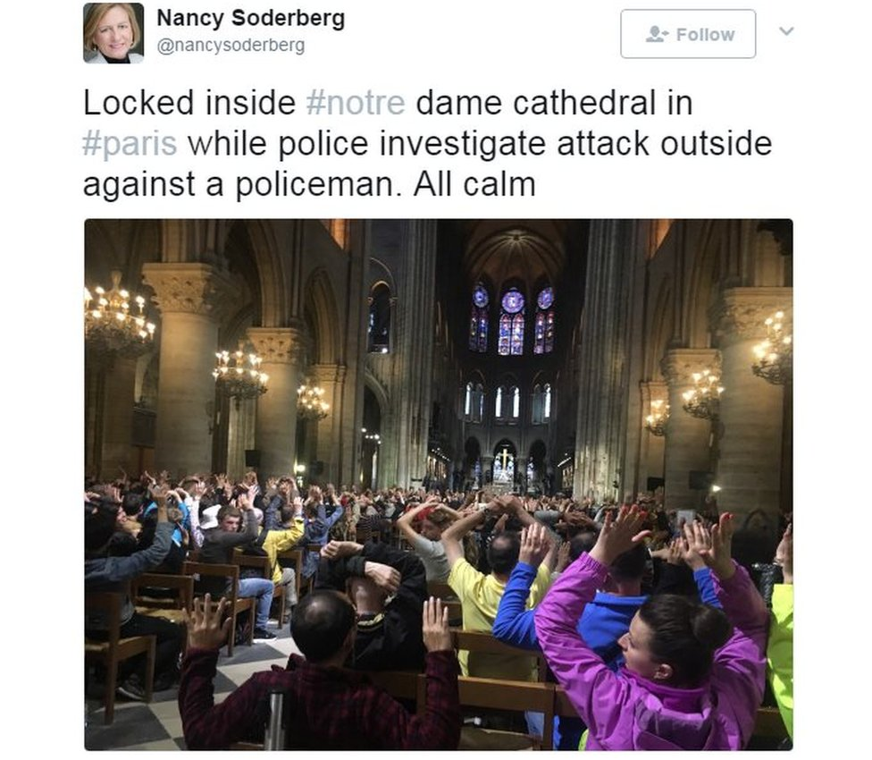 Locked inside #notre dame cathedral in #paris while police investigate attack outside against a policeman. All calm