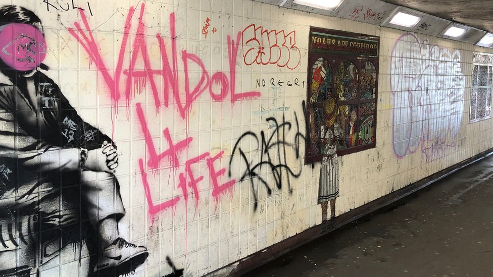 Some works Oliver and Kenneth Budd have done in the city have been ruined by vandals