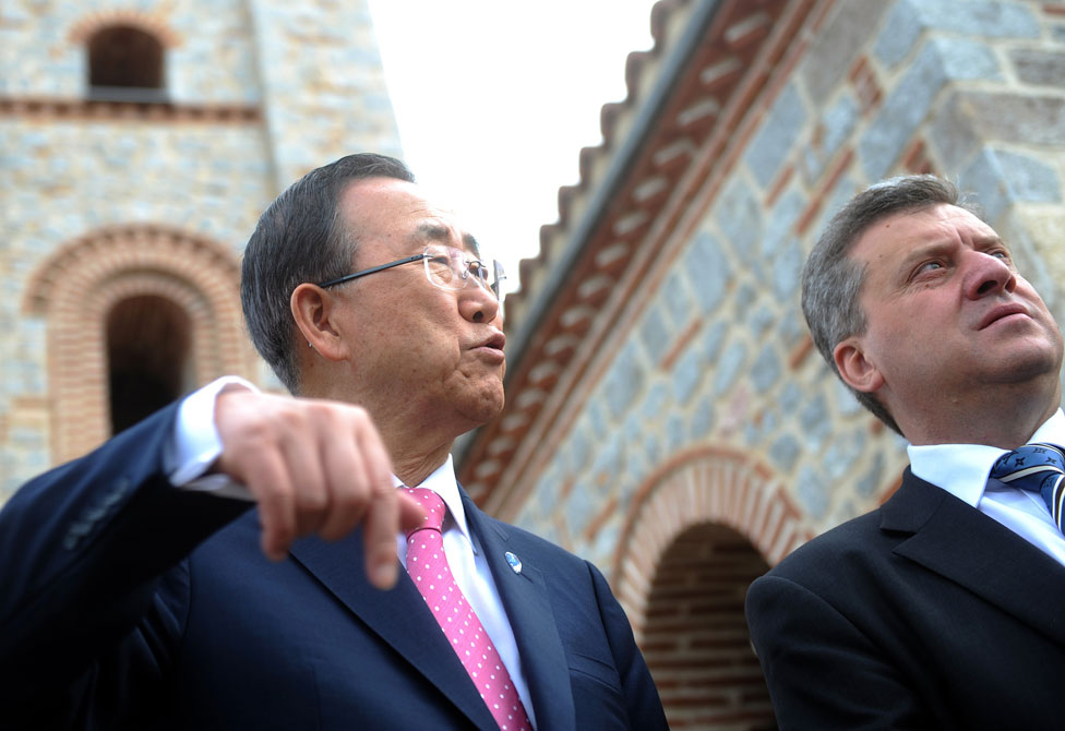 Ban Ki-moon in Macedonia in 2012, with then prime minister George Ivanov