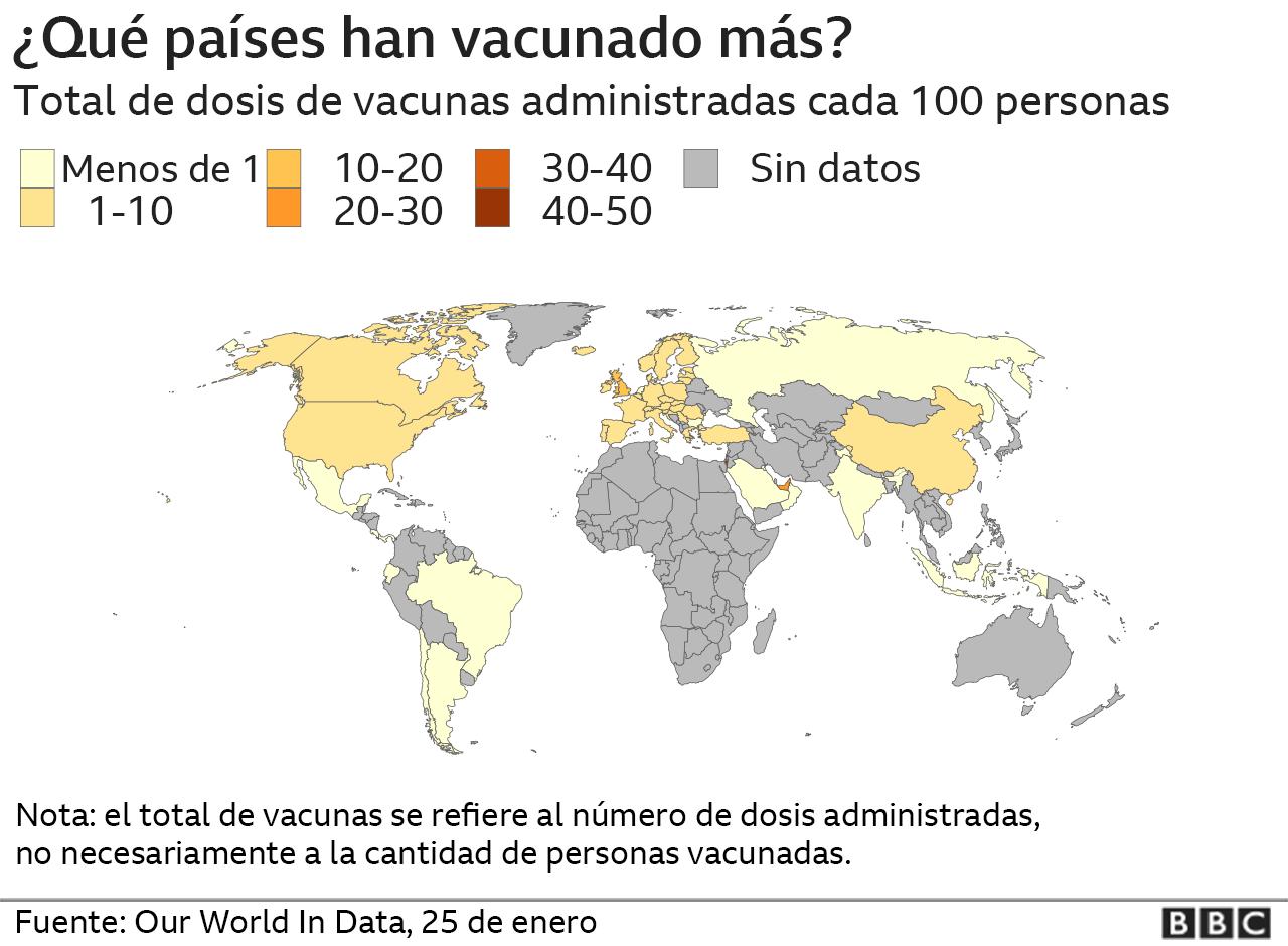 El mapa de la vacunación del covid-19 en el mundo.