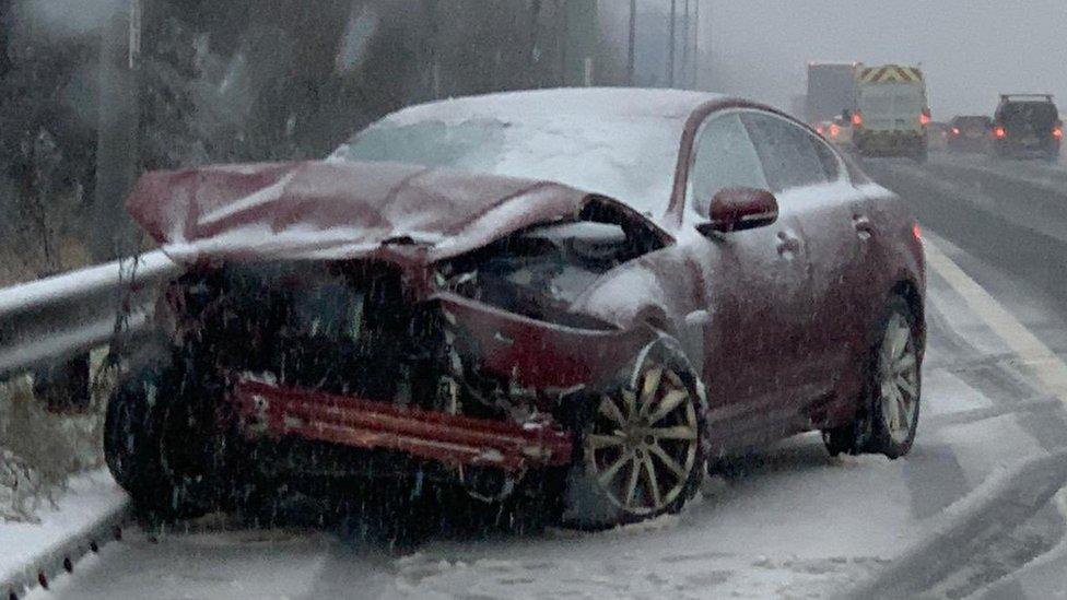 Smashed car on M62